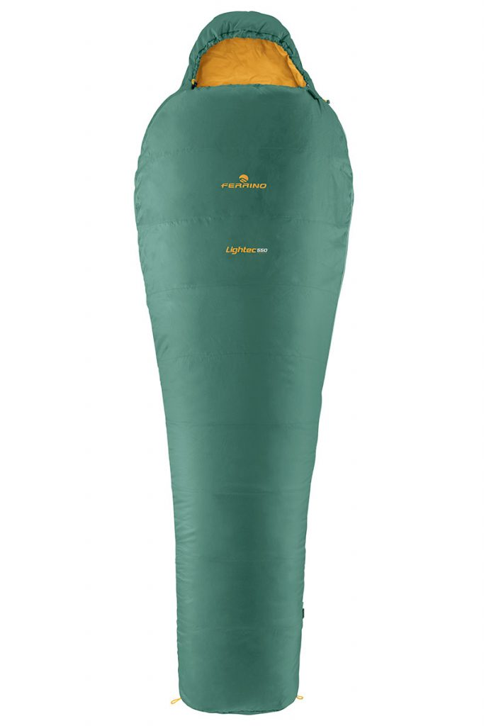 Ultralight backpacking sleeping bag Ferrino Lightec 550, ideal for long adventure hiking trips and independent ultra-trails or camping.