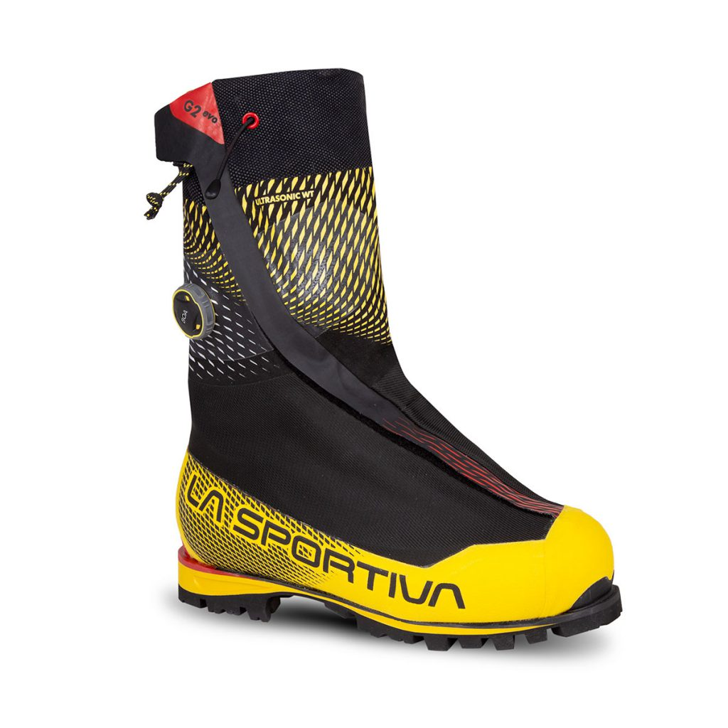 Mountaineering boots La Sportiva G2 EVO, ultra thermal double boot for extreme alpinism and working sessions at low temperatures.