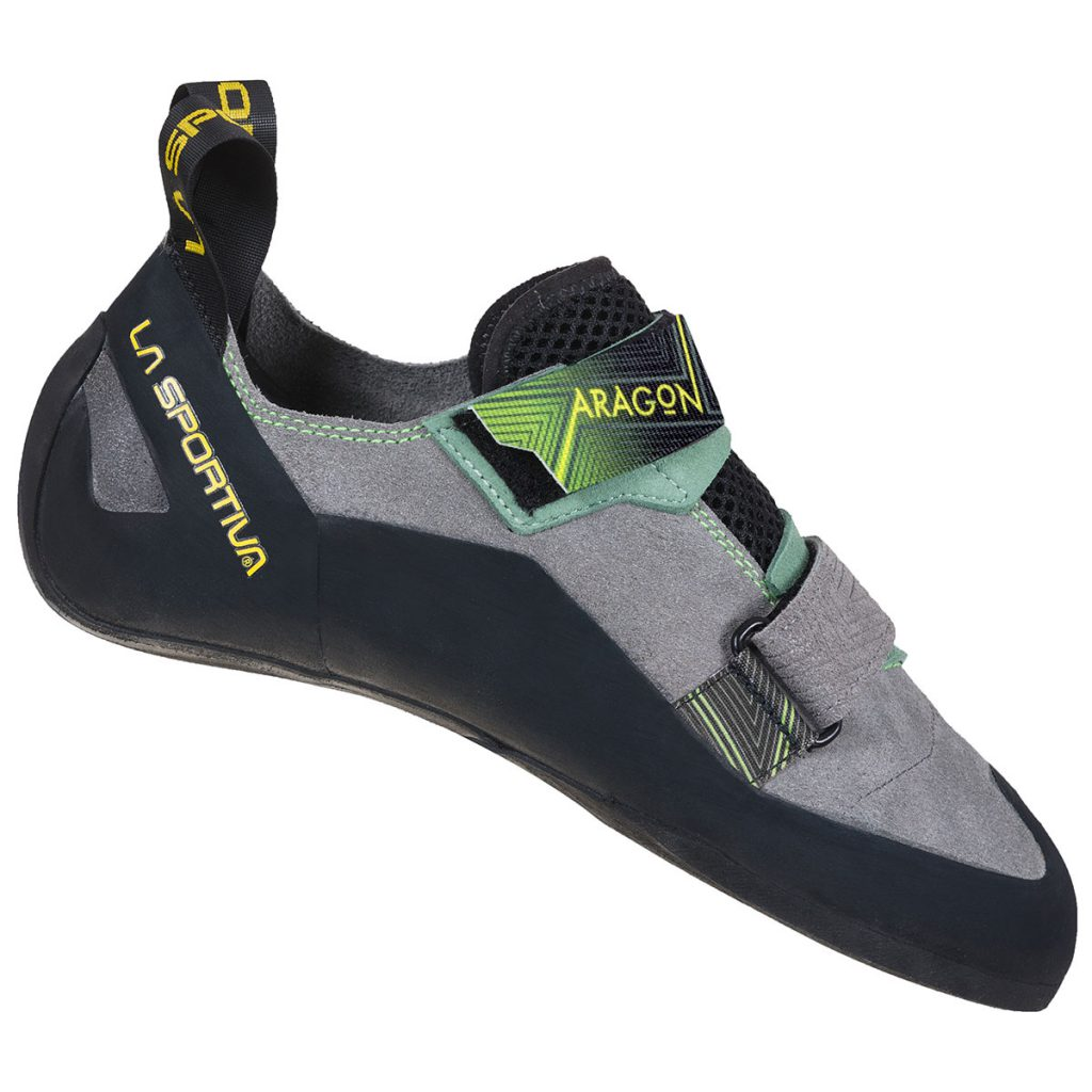 Comfortable beginner climbing shoes La Sportiva Aragon with double Velcro fastening, perfect for use on indoor climbing walls.