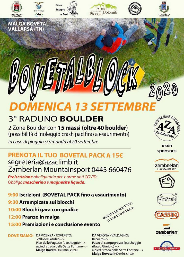 Domenica 13 settembre 2020 si terrà la terza edizione del Bovetalblock, il raduno boulder a Malga Bovetal in Vallarsa (TN).