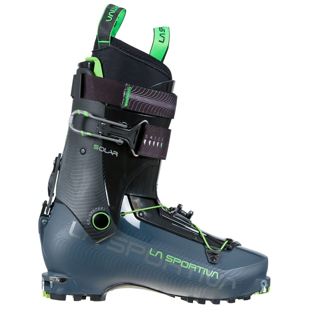 Lightweight and versatile La Sportiva Solar ski mountaineering boots featuring triple compatibility with Tour bindings: Trab TR2 safety bindings and mini tech bindings.
