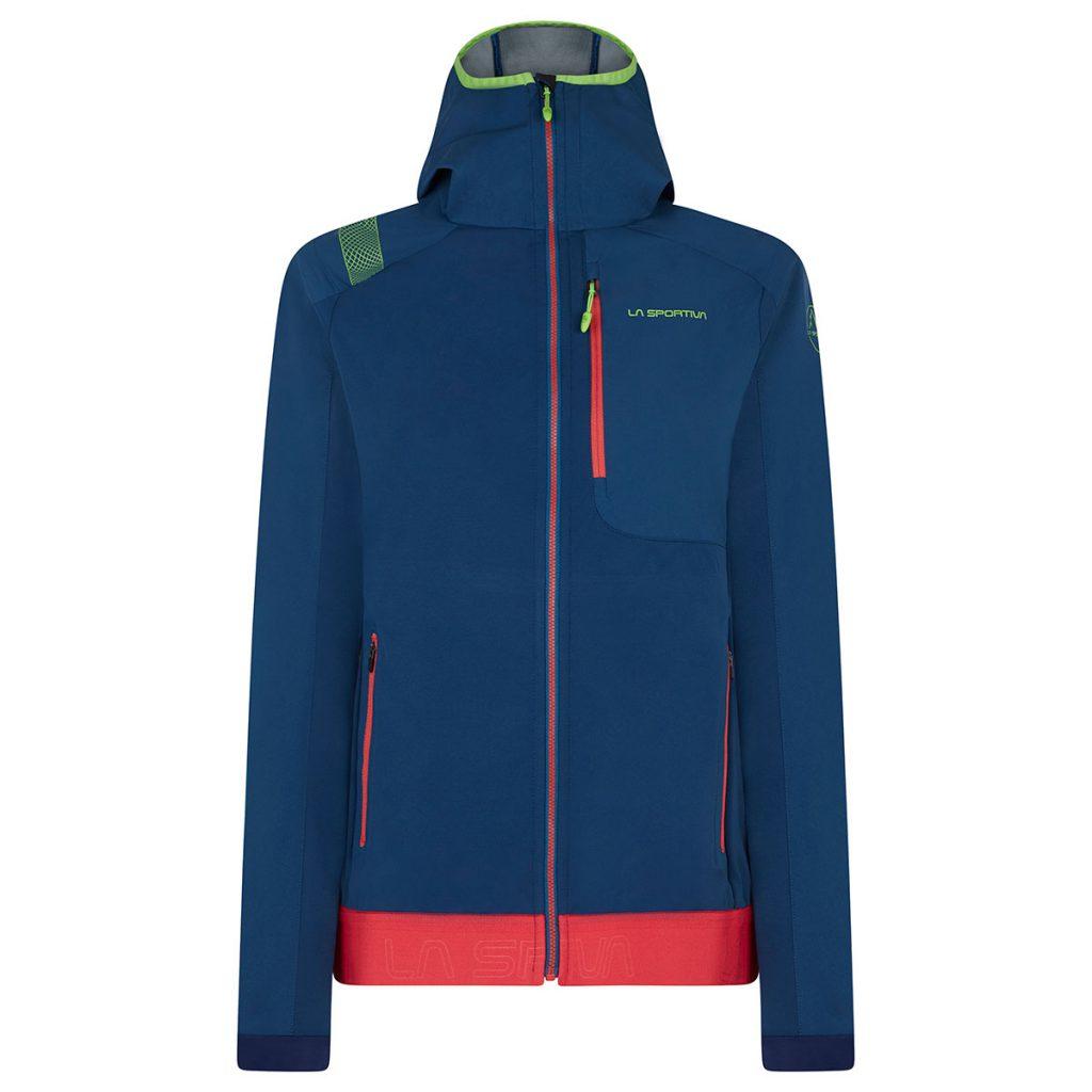 La giacca softshell Levia Hoody con cappuccio regolabile è perfetta per le attività aerobiche outdoor anche in caso di leggero vento e pioggia.