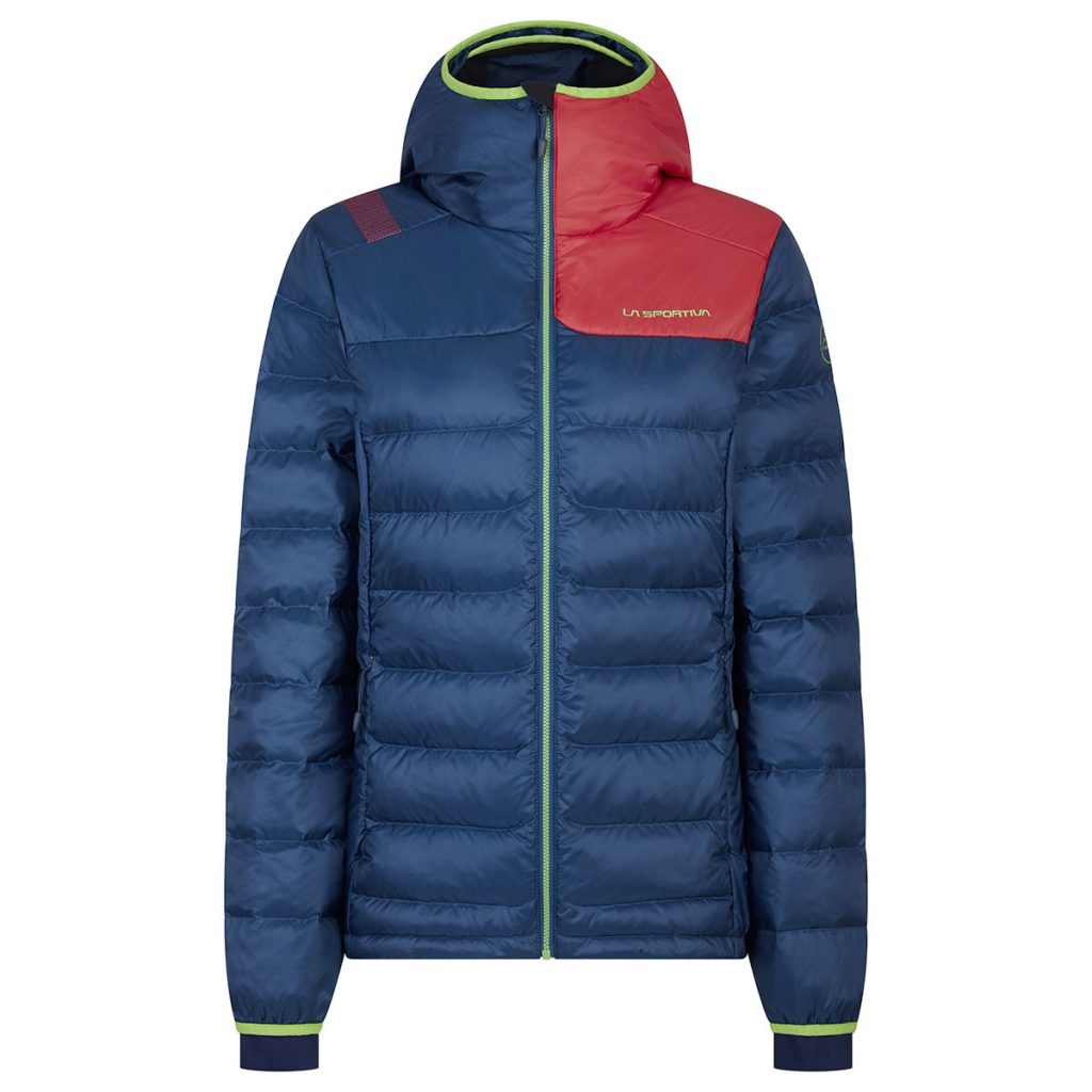 Hooded Down Jacket for Women La Sportiva Domino Down JKT with VAPOVENT technology on hood, side panels, chest and shoulder for ideal breathability.