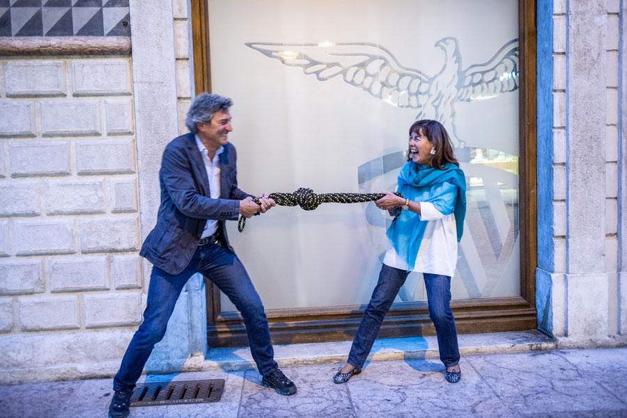 Lorenzo Delladdio (CEO La Sportiva) e Anna Facchini (Presidente SAT)