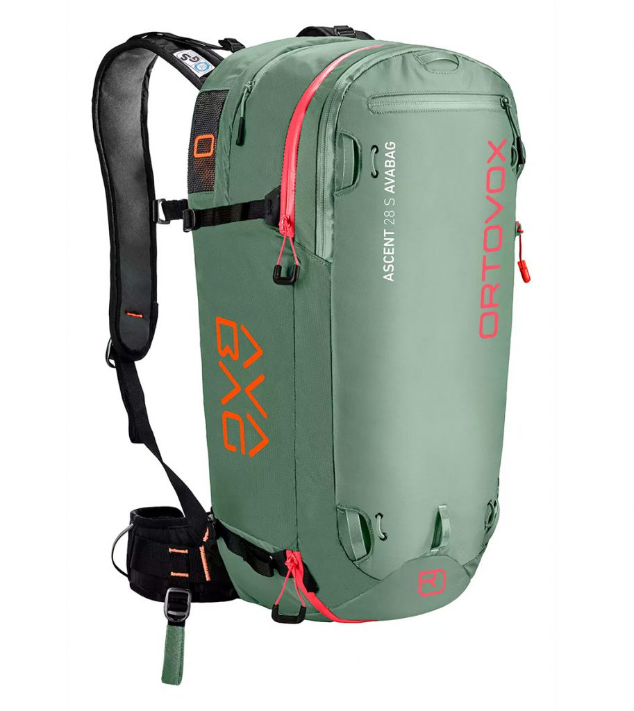 Lightweight, spacious avalanche backpack Ortovox Ascent 28S Avabag withextremely light and sensationally compact airbag system
