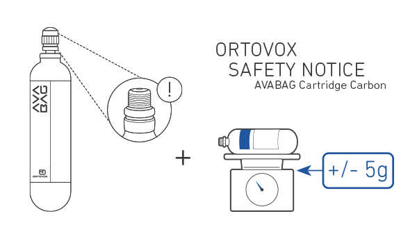 The mountain sports experts at Ortovox have established that in isolated cases some Avabag Cartridge Carbon models may lose pressure.