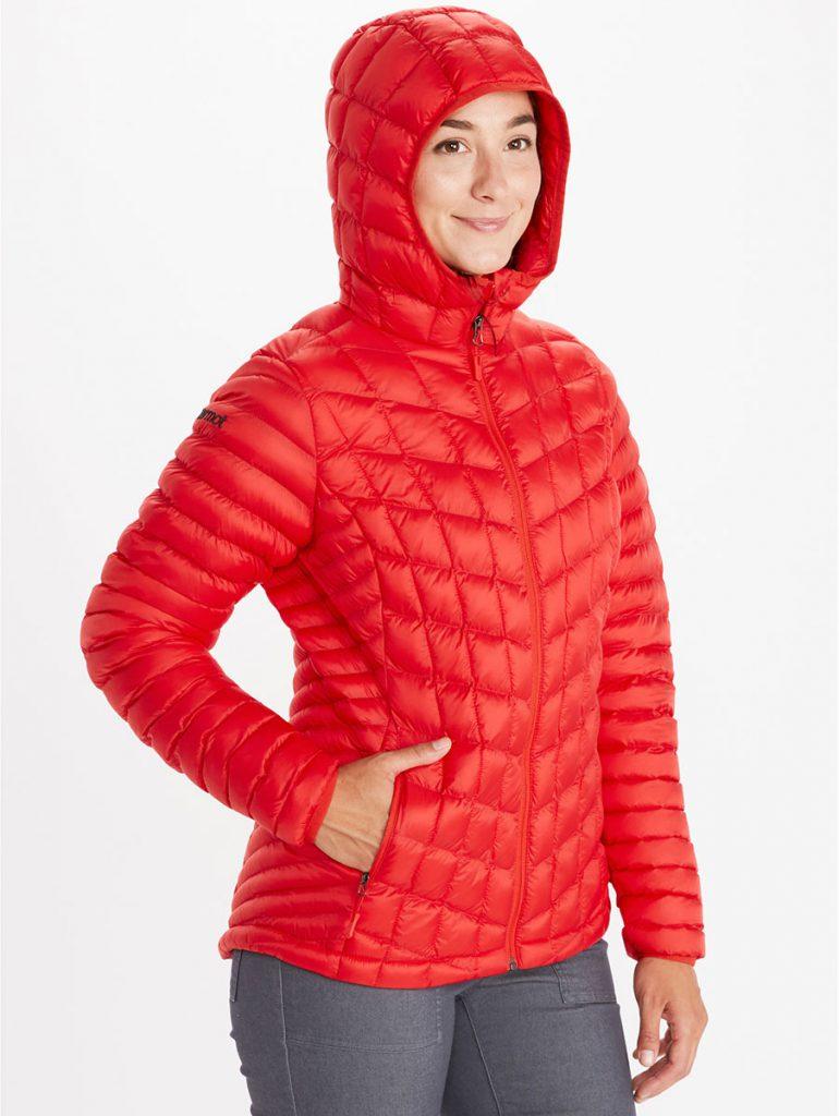 Felpa leggera con cappuccio da donna Womans Marmot Featherless Hoody, dotata dell'isolamento senza piume riciclato 3M Thinsulate.