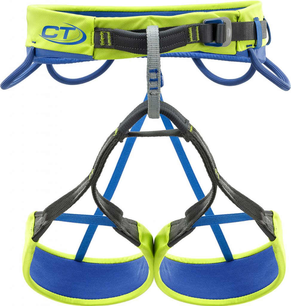 Lightweight, single-buckle rock climbing harness Climbing Technology Quarzo with 4 gear loops and internal optimal load distribution structure