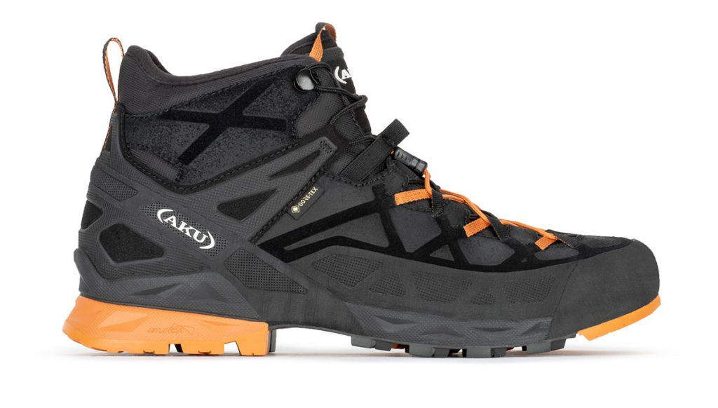 Rock DFS Mid GTX di AKU è una scarpa da avvicinamento e climbing leggero, per vie ferrate ed escursioni su sentieri di montagna.