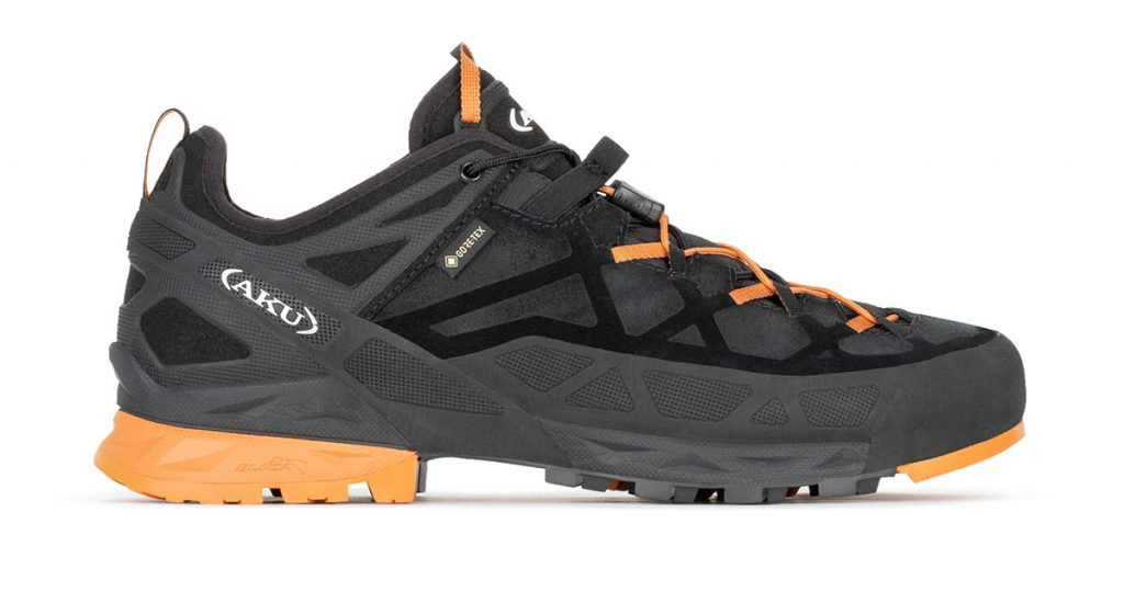 Robust technical approach shoes AKU Rock DFS GTX: this technical approach and light climbing shoe is ideal for via ferrata and excursions on mountain paths