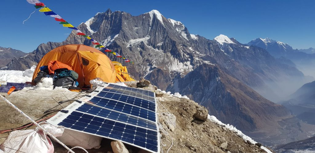 The solar panels used during Alex Txikon's last expedition to Manaslu © Phelipe Eizagirre