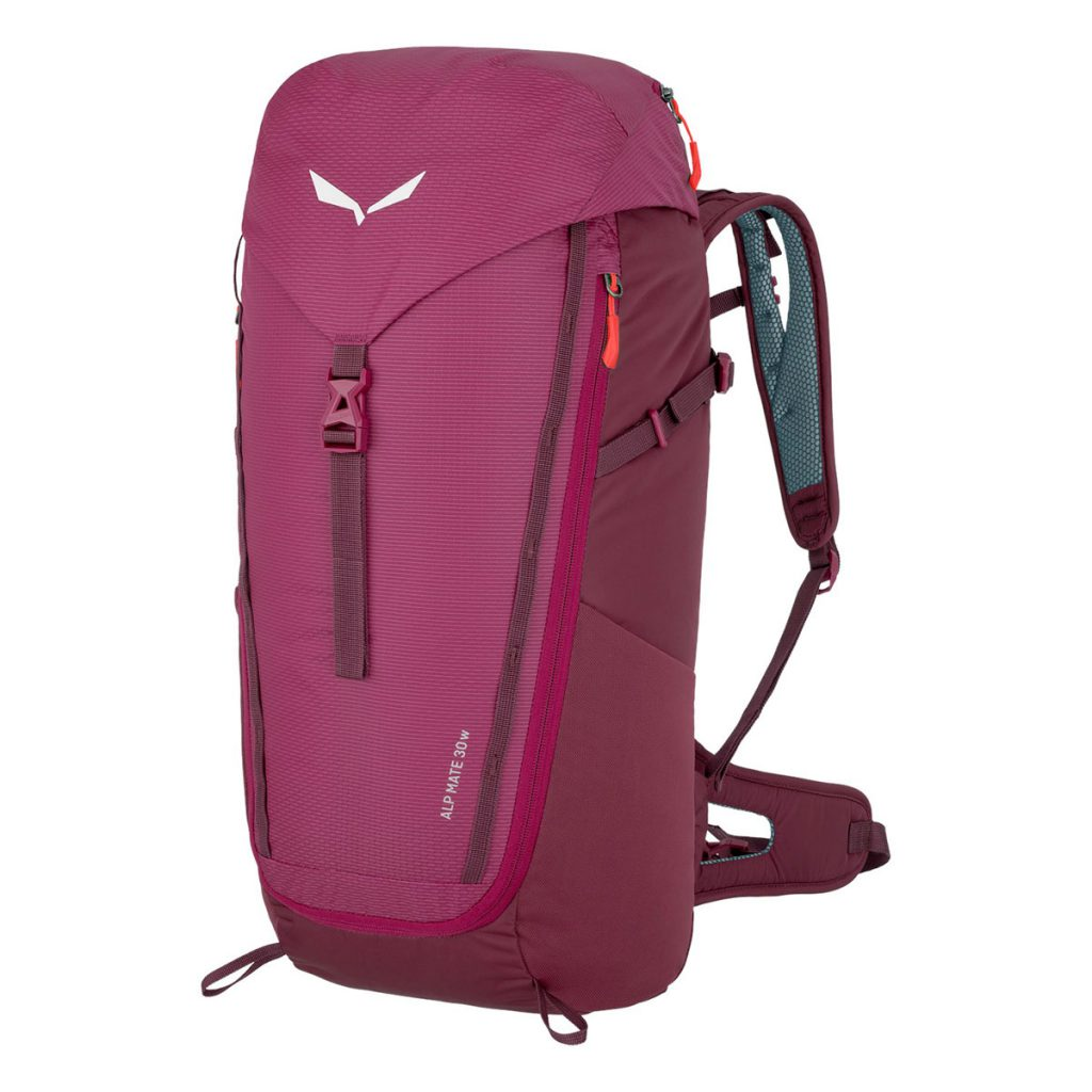 Trekking backpack for women Salewa Alp Mate 30L: a reliable, ventilated alpine trekking pack built for comfort on medium tours.Dry Back Air