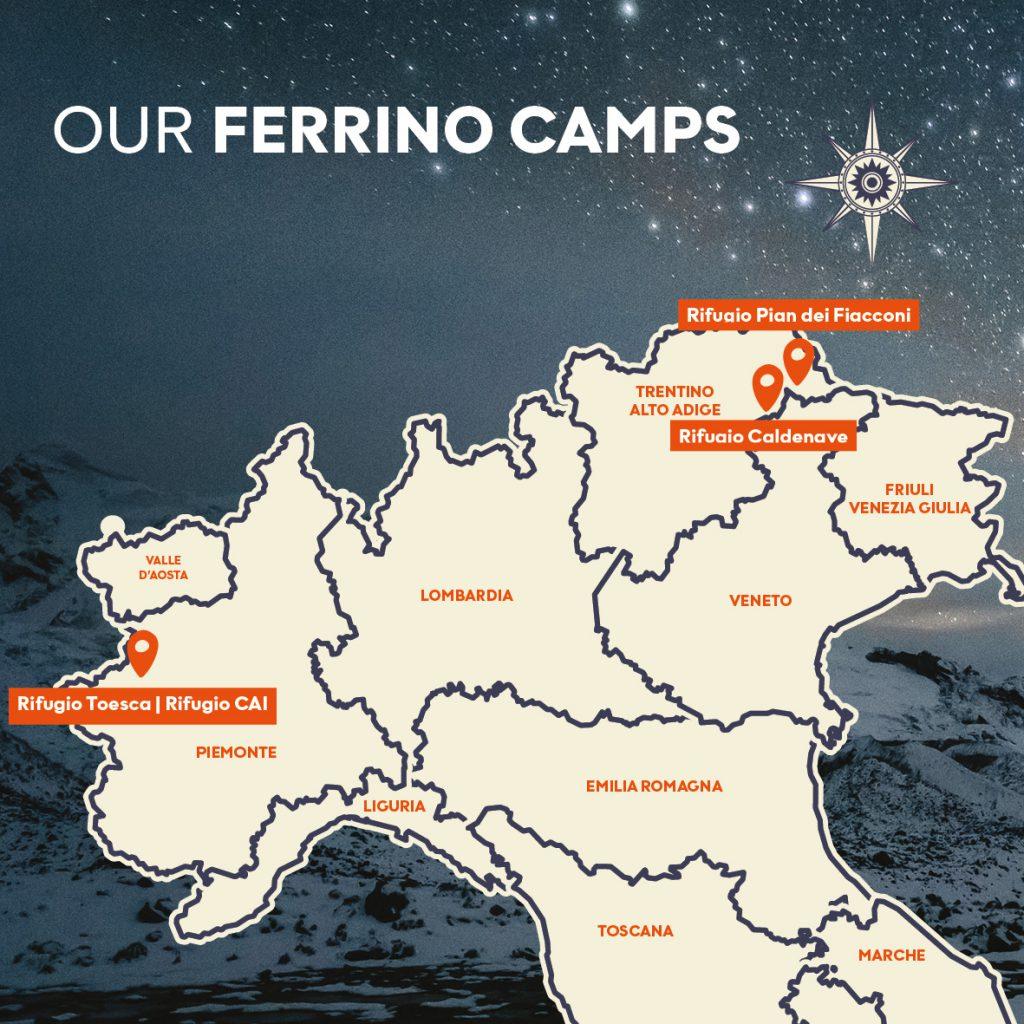 Rifugio Pian dei Fiacconi, rifugio Caldenave e rifugio Toesca le location scelte per i Ferrino Campo Base