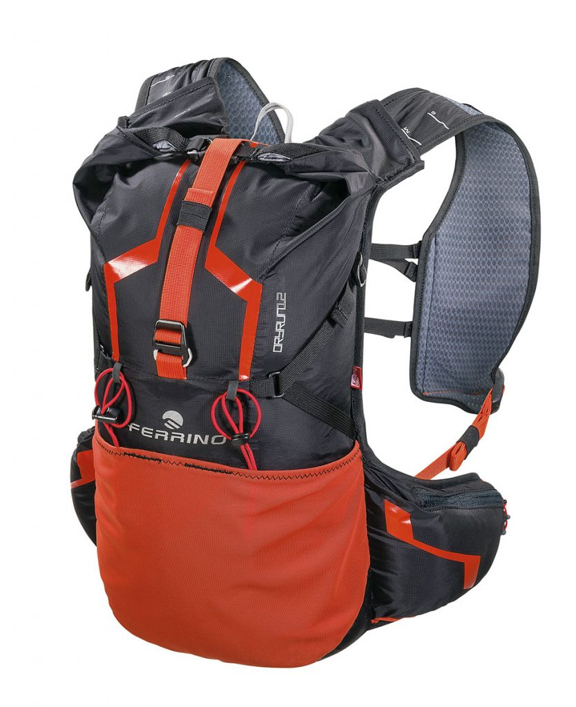 Waterproof trail running backpack Ferrino Dry Run 12 with Outdry® technology and equipped with all accessories needed for mountain running.