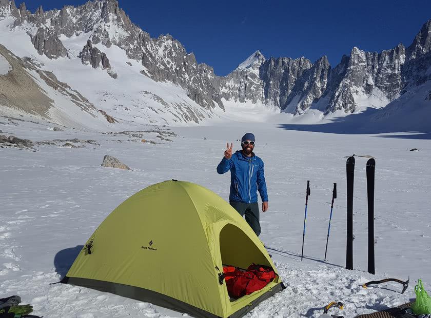 Stefano Ragazzo on the Argentiere glacier with Elbec mountain socks