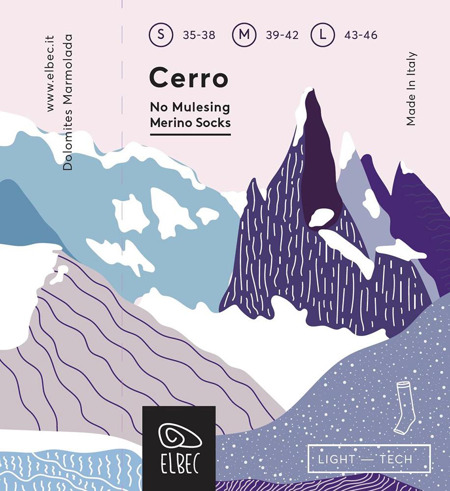 L'etichetta di Cerro, la prima calza per arrampicata di Elbec